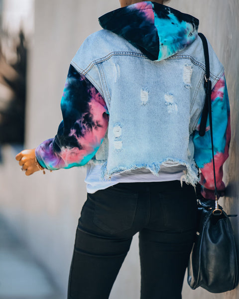 PREORDER - Slash Tie Dye Knit Hooded Denim Jacket
