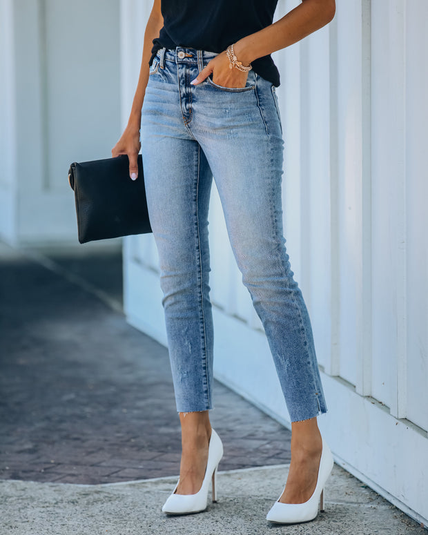 Milly High Rise Split Ankle Denim view 1