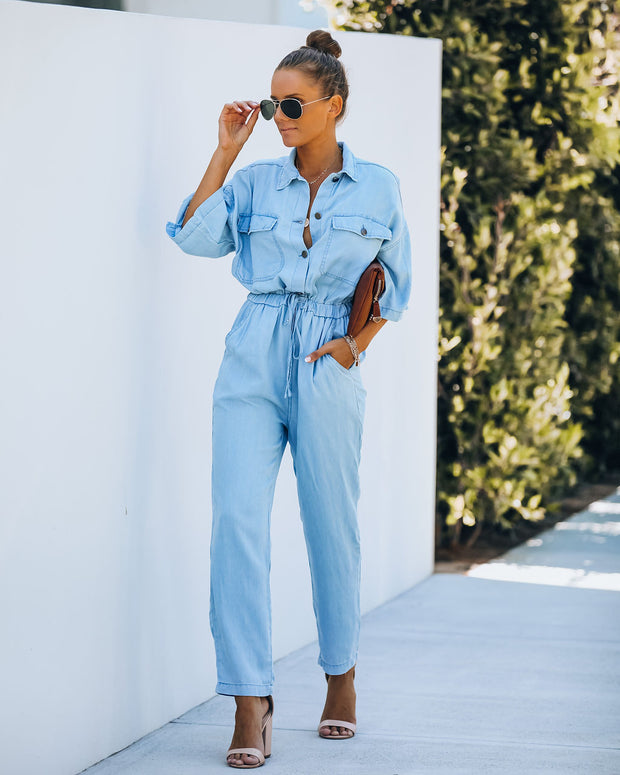 Tribeca Cotton Pocketed Chambray Jumpsuit
