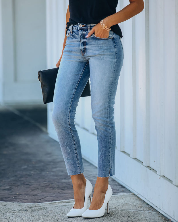 Milly High Rise Split Ankle Denim view 5