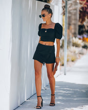 Key West Cotton Tassel Skort - Black