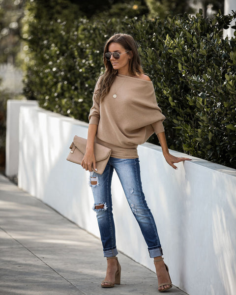 PREORDER - Surrounded With Love Ribbed Knit Sweater - Taupe