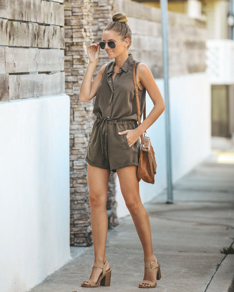 Goodall Drawstring Pocketed Romper