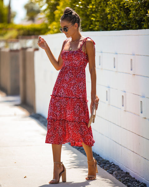 Bakersfield Floral Tie Midi Dress