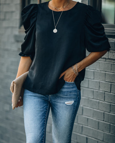 Talk This Way Puff Sleeve Blouse - Black