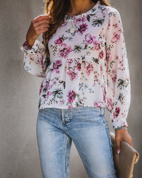 Wide Variety Floral Chiffon Babydoll Blouse - FINAL SALE