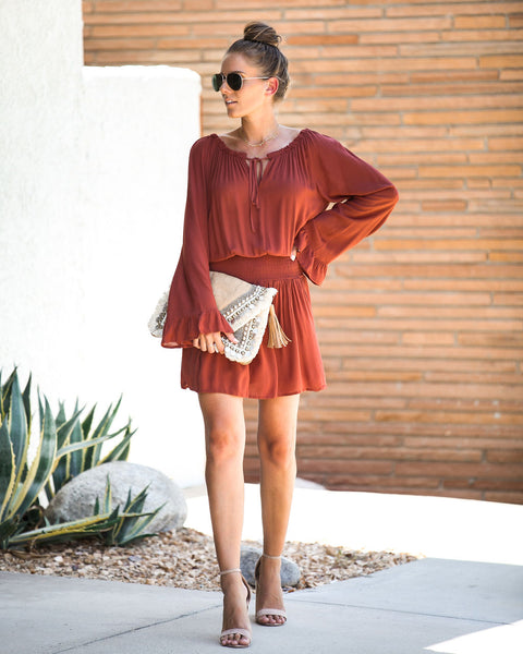 Field Of Dreams Smocked Off The Shoulder Dress - Rust - FINAL SALE