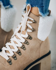 Conquest Heeled Shearling Lace Up Boot - Khaki view 4