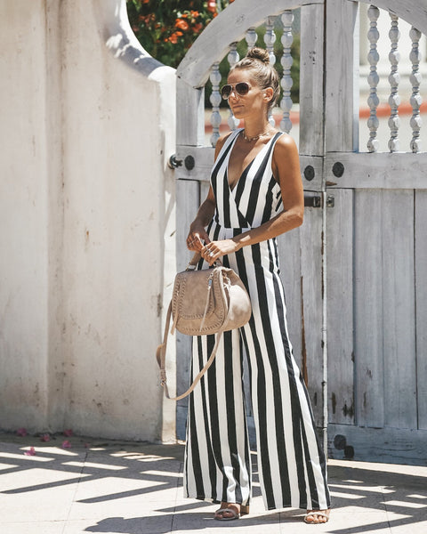 Positano Tie Jumpsuit - Black/White
