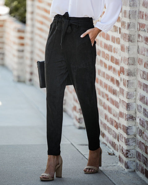 Seasonal Refresh Pocketed Faux Suede Pants - Black - FINAL SALE