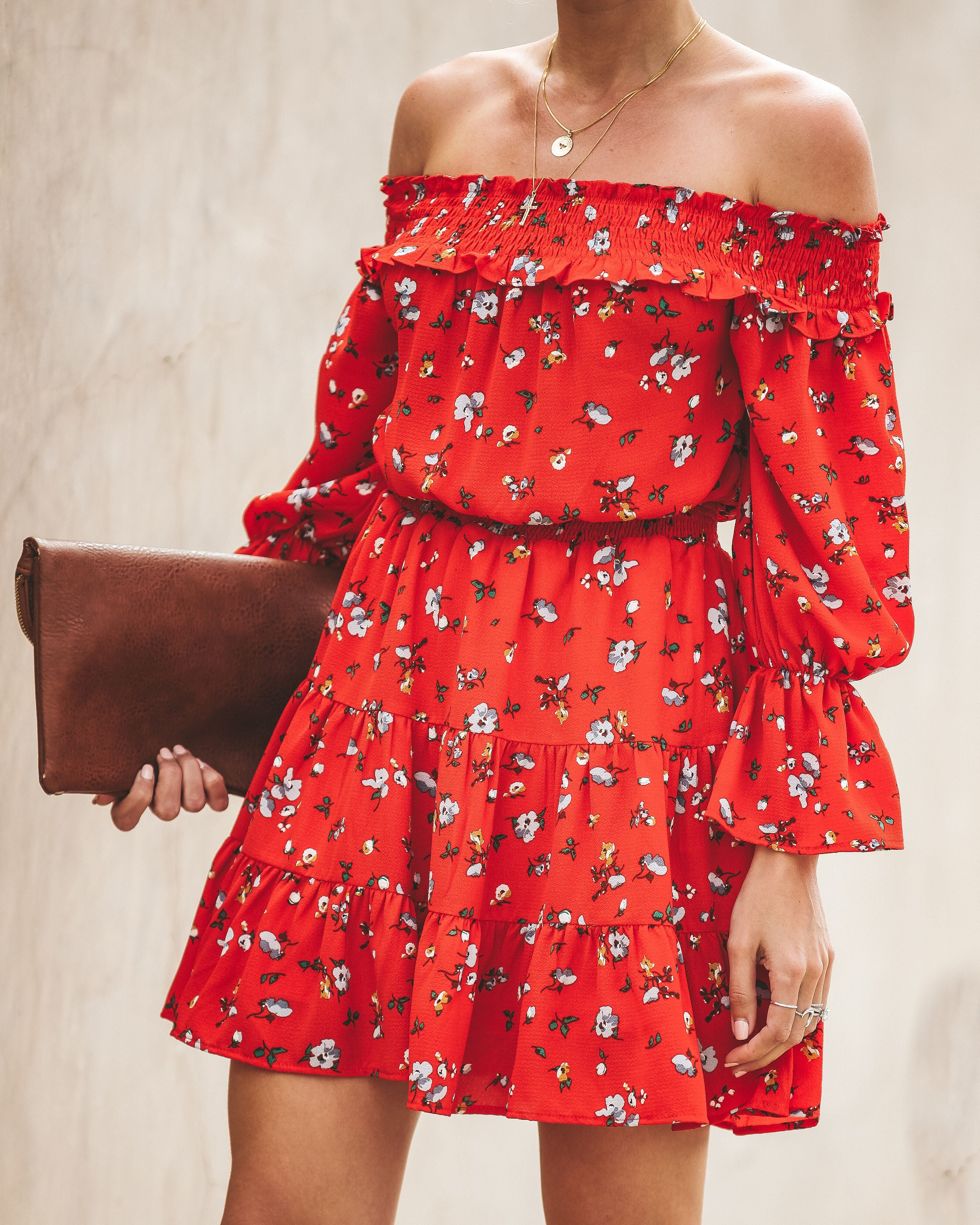 0ed60af17199 Detail Product. ← Home - DRESSES - Sound Of Music Floral Off The Shoulder  Dress - Tomato Red