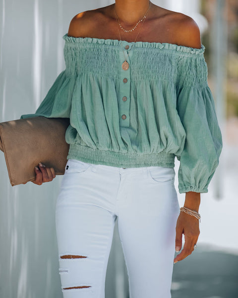 Fig Cotton Smocked Off The Shoulder Top - Sage