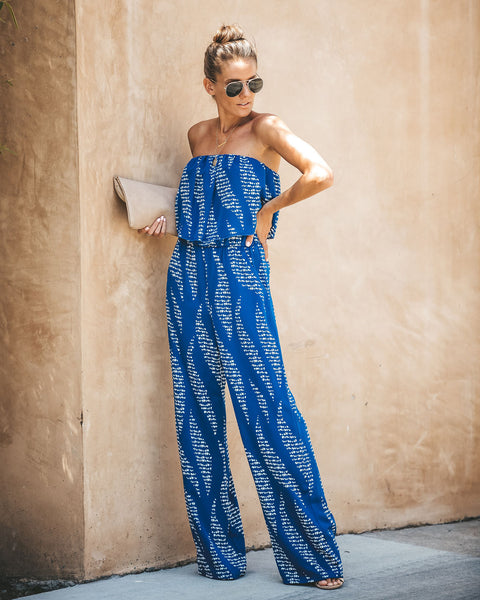 Water Spirit Pocketed Strapless Jumpsuit