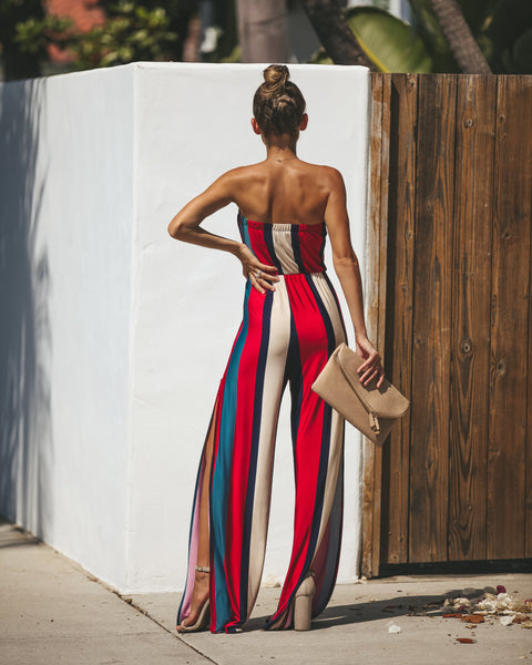 Guaranteed Striped Strapless Jumpsuit - FINAL SALE