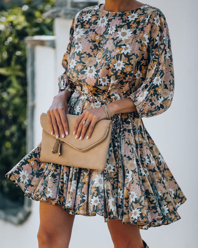 Gleam Floral Rope Tie Ruffle Dress