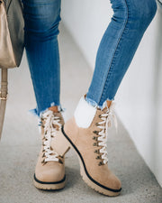 Conquest Heeled Shearling Lace Up Boot - Khaki view 2