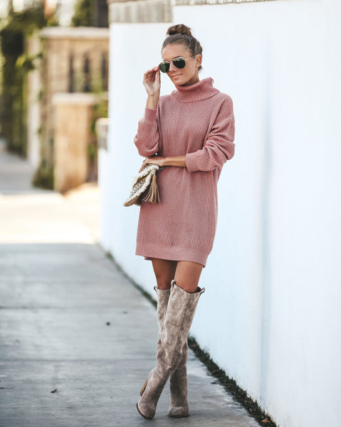 Marques Ribbed Turtleneck Sweater Dress - Mauve