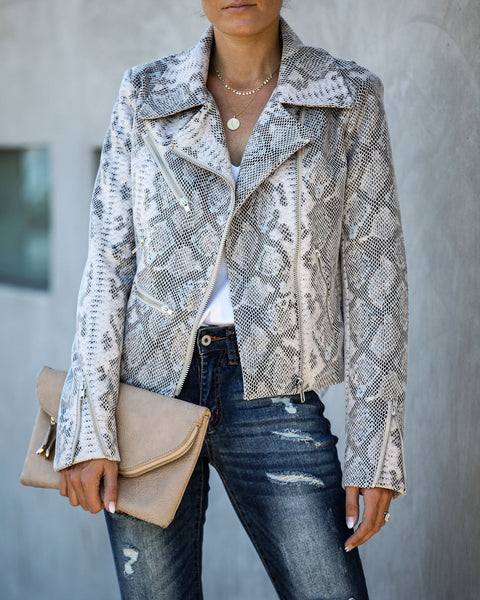 Spellbound Pocketed Python Moto Jacket  - FINAL SALE