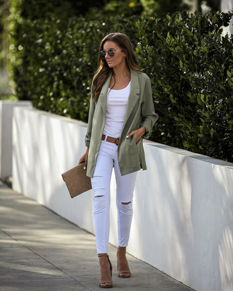 Mover And Shaker Pocketed Blazer - Sage