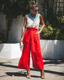 Bellissimo Pocketed Tie Pants - Red - FINAL SALE