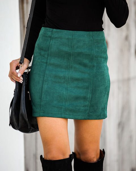 Thankful Faux Suede Mini Skirt - Dark Green