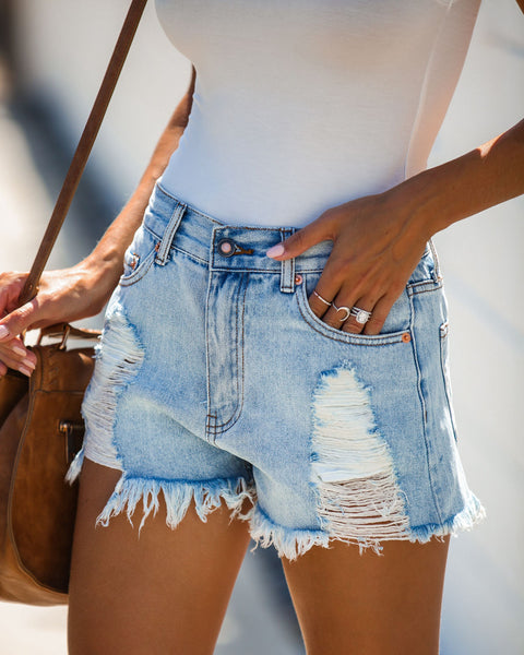 Out Back High Rise Destroyed Denim Shorts