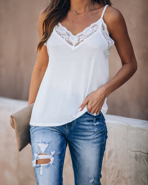 Homestyle Lace Knit Cami Tank - Off White - FINAL SALE