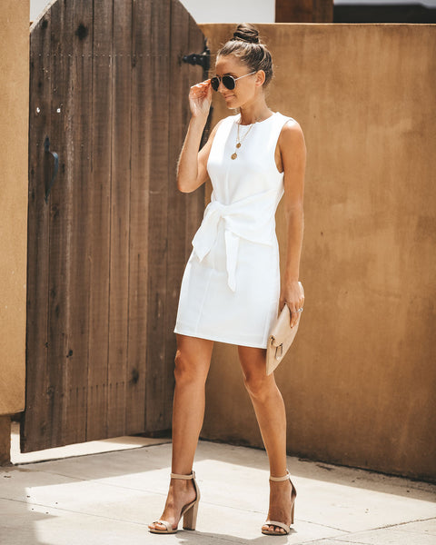 Estelle Tie Waist Dress - White - FINAL SALE