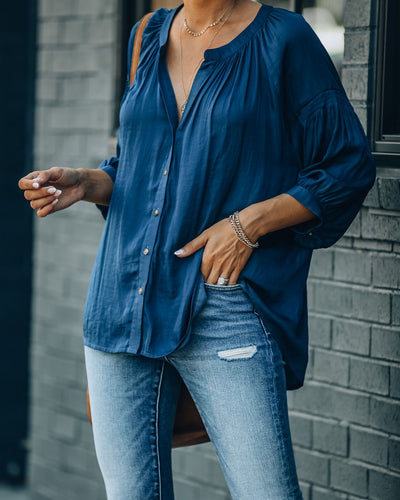 Inspired Button Down Peasant Top - Ocean Dip