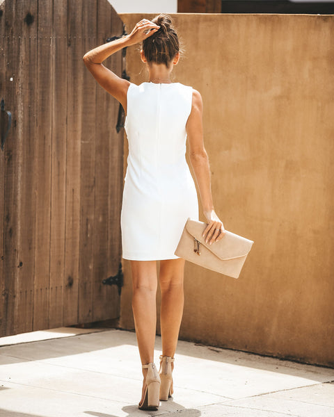 Estelle Tie Waist Dress - White