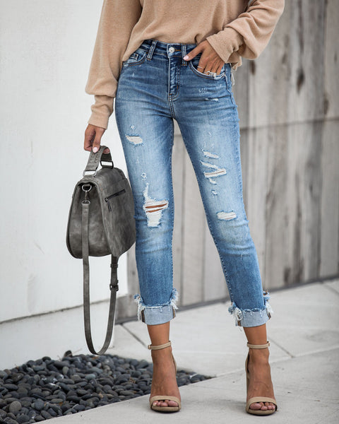 Jed Mid Rise Distressed Cuffed Denim