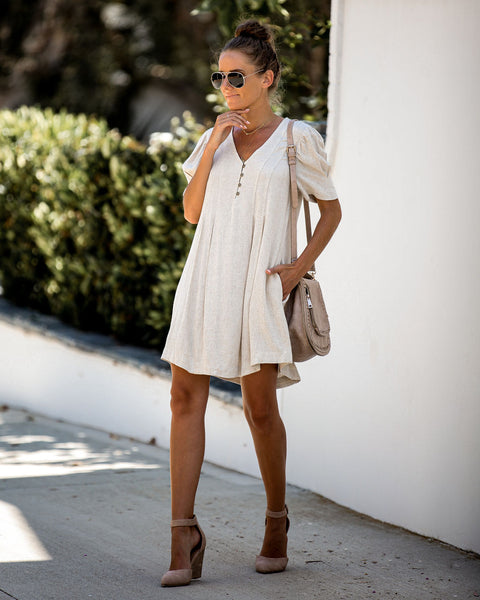 Take A Trip Linen Blend Pocketed Dress - Oatmeal