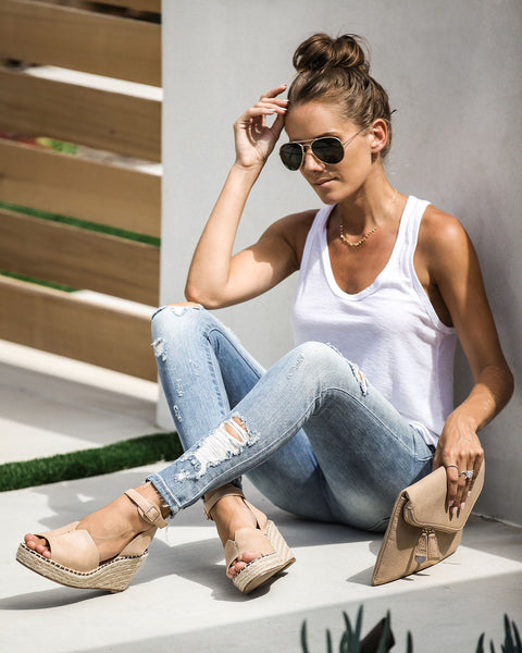 Great Escape Faux Leather Espadrille Wedge - Taupe - FINAL SALE