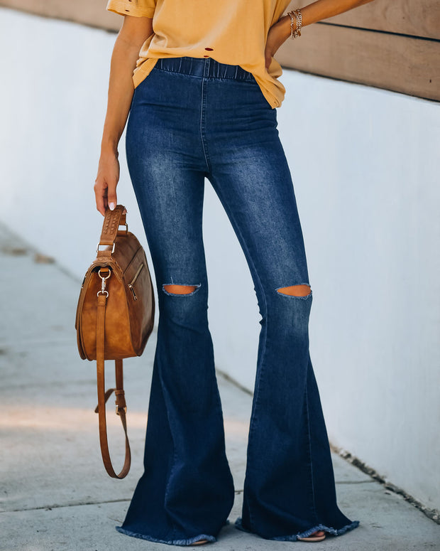 Thick + Thin Distressed Bell Bottom Denim Pants