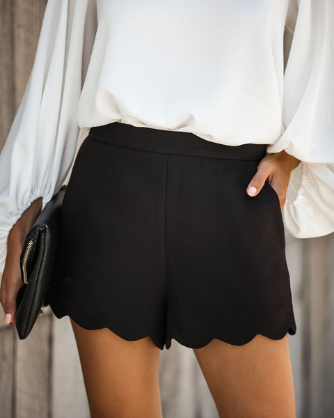 Tasteful Touch Pocketed Scalloped Shorts - Black