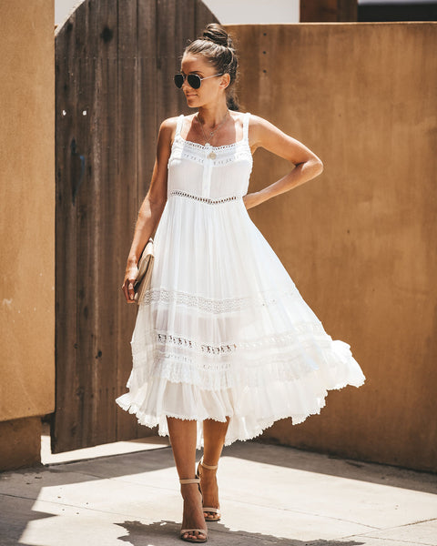 Old Town Road Crochet Detailed Midi Dress