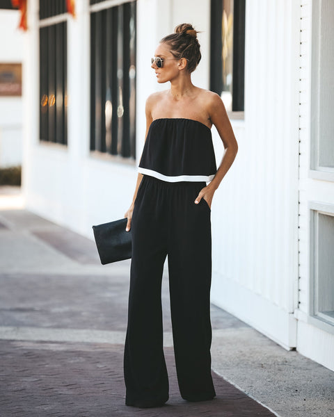 Noir Pocketed Strapless Jumpsuit