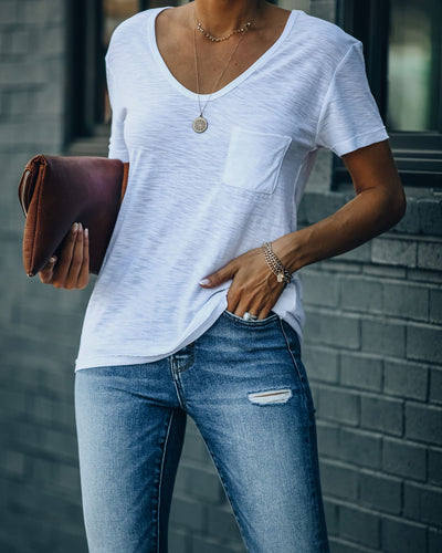 Kinsley V-Neck Pocket Tee - White