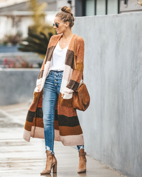 Hot Toddy Striped Pocketed Duster Cardigan