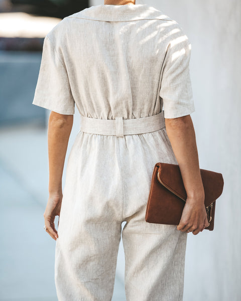 Power Play Pocketed Linen Jumpsuit - FINAL SALE