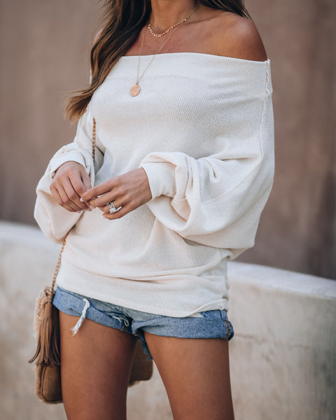 Room To Breathe Off The Shoulder Knit Top - Cream - FINAL SALE