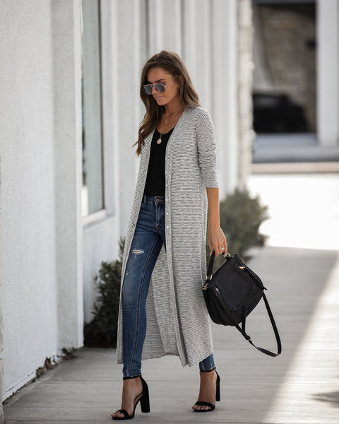 Pacific Palisades Striped Button Down Duster Cardigan - FINAL SALE