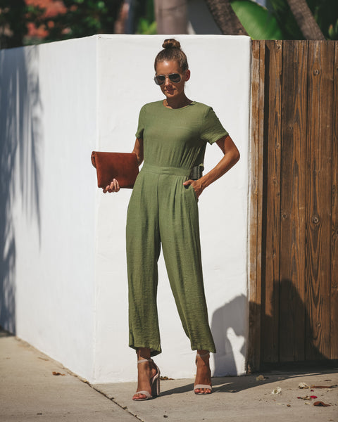 First Class Pocketed Jumpsuit - Olive