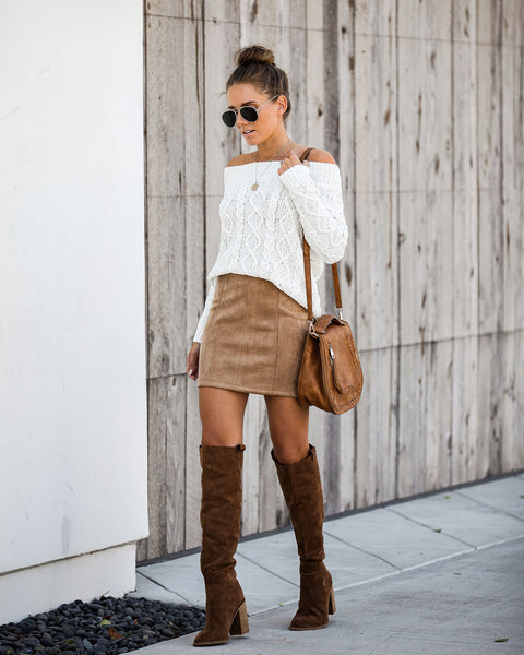 Thankful Faux Suede Mini Skirt - Tan