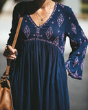 Do What I Want Embroidered Pocketed Tunic - Navy - FINAL SALE