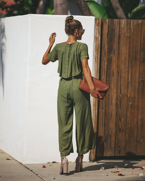 First Class Pocketed Jumpsuit - Olive - FINAL SALE