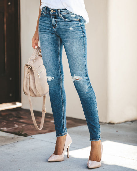 Leah Mid Rise Distressed Skinny