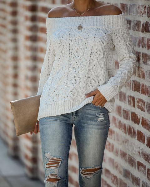White Mocha Off The Shoulder Cable Knit Sweater