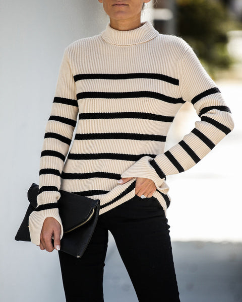 Meet Me Halfway Striped Turtleneck Sweater - FINAL SALE