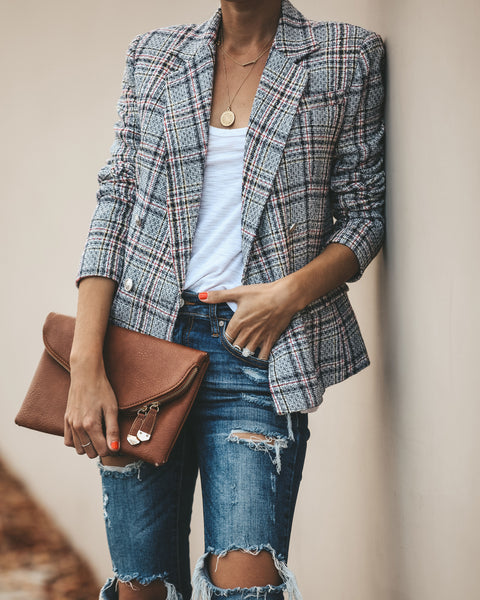 Justyna Tweed Pocketed Blazer